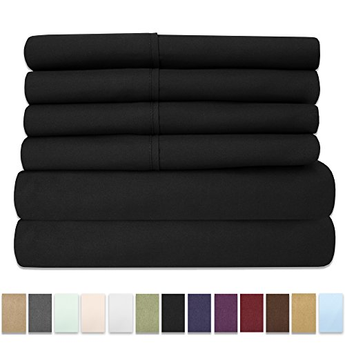 Set Sht (Sweet Home Collection 6 Piece 1500 Thread Count Brushed Microfiber Deep Pocket Sheet Set-2 Extra Pillow Cases, Great Value, Rv Short Queen, Black)