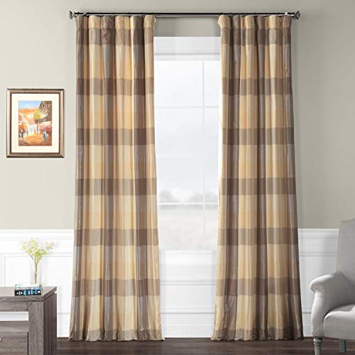 Silk Drapes Plaid (Pts-SLK33-84 Faux Silk Plaid Curtain, 50 x 84, Sutton)