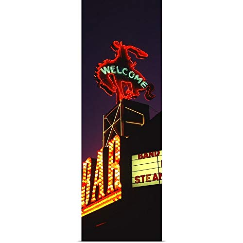 Million Dollar Cowboy Bar - GREATBIGCANVAS Poster Print Entitled Welcome Sign of a bar Million Dollar Cowboy Bar Jackson Jackson Hole Teton County Wyoming by 16
