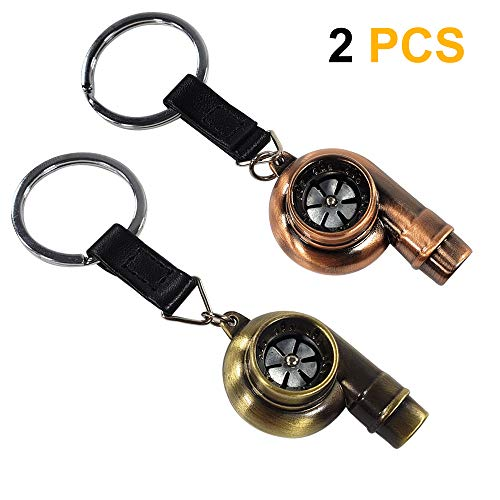 (Ispeedytech 2Pcs Spinning Turbo Keychain,Make Whistle Sound,Auto Part Model Metal Keychain/Key Ring/Holder Set (Bronze Color))
