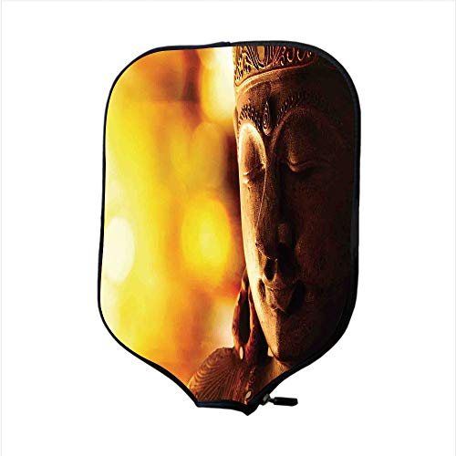 Neoprene Pickleball Paddle Racket Cover Case,Sculptures Decor,Bronze Religious Statue in Mediatation Eastern Religion Rituel Asian Culture Decoration,Yellow,Fit For Most Rackets - Protect Your Paddle