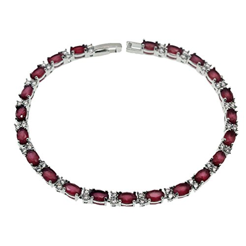 Vanessa Classic Tennis Bracelets for Women 7'' 8'', Sparkling Oval Gemstone Clasp Chain Bracelet Gifts (8inch - Emerald Bracelet Ruby Sapphire