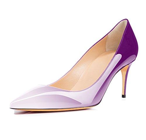 Viola Scarpe Tacco da Col a Tacchi Tacco uBeauty multicolore Scarpe con 65 Tacco Classiche mm Spillo Scarpe Col Donna Alti UwAz0Aq
