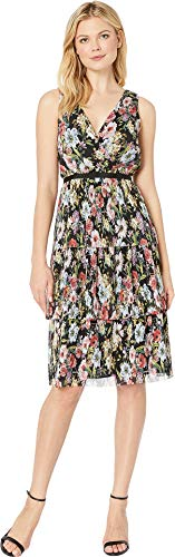 Adrianna Dress Papell Black (Adrianna Papell Women's Printed Floral Garden Printed Tiered Dress Black Multi 14)