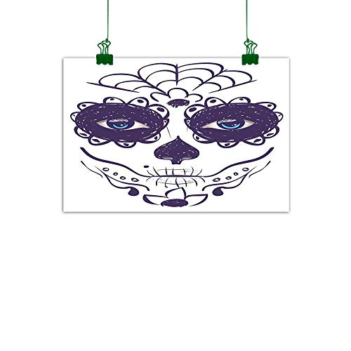 J Chief Sky Day of The Dead Decor Canvas Wall Art Picture Dia de Los Muertos Sugar Skull Girl Face with Mask Make up Decor Wall Art Canvas Painting W -