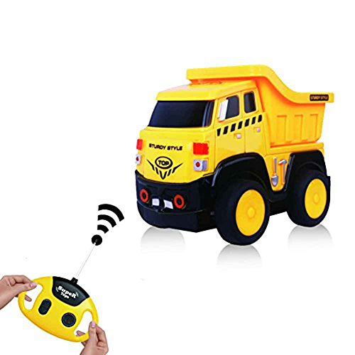 Remote Control Truck, Cartoon RC Dump Truck with Sounds, Radio Control Construction Vehicle Toy for Kids and Toddlers (Eco Truck Excavator)