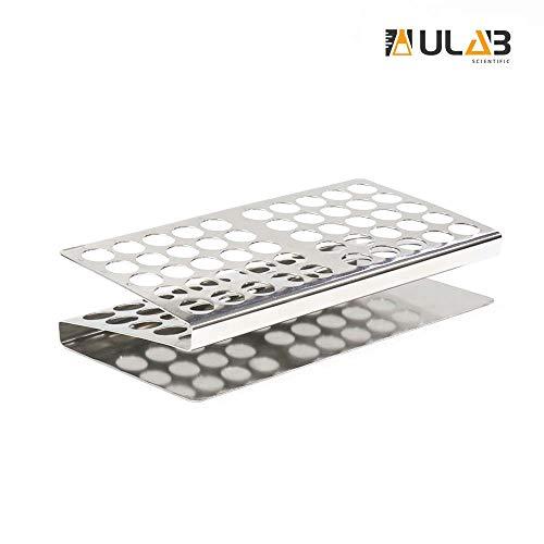 ULAB Stainless Steel Test Tube Rack, Z Shape, 50Holes(5×10), UTR1008