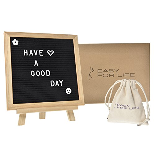 - Changeable Felt Letter Board-Top Quality Oak 10x10 Black | Changeable Letter Board | 340 White Letters Including Emoji, Punctuation and Symbols | White Cotton Bag Included to Store Extra Letters