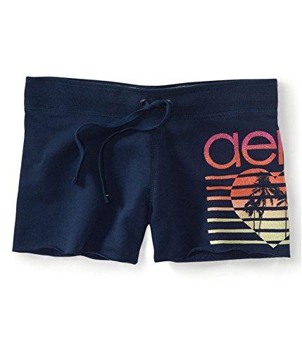 (Aeropostale Womens Glitter Heart Casual Bermuda Shorts, Blue, X-Small)
