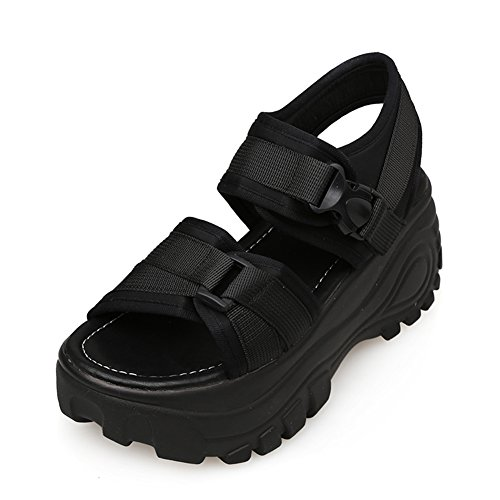 Sandals ZCJB Thick Female Summer Wedges Roman Shoes High Heel Casual Shoes Velcro Muffin Black EfQoFw1Yi