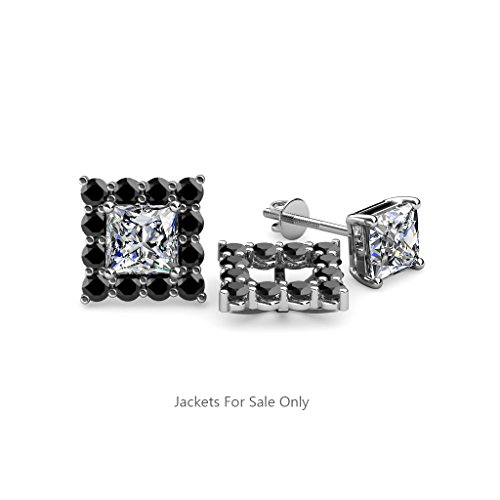 Black Diamond Halo Jacket for Princess Stud Earrings 0.76 ct tw in 14K White Gold