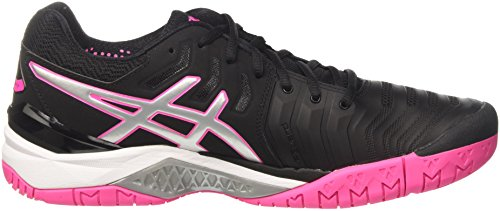 Asics Gel-Resolution 7, Scarpe da Tennis Donna Nero (Black/Silver/Hot Pink)