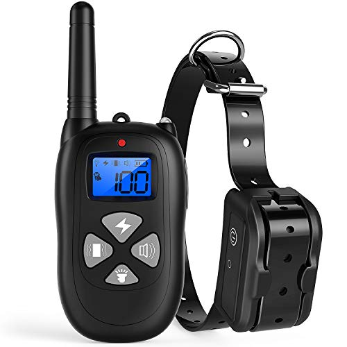Katze Tatze Dog Training Collar, Electric Shock Collar up to 1000ft+ Remote Control, 330 Yards Waterproof Rechargeable Small Medium Large Dogs Beep, Vibration Shock Mode & LED Lighting