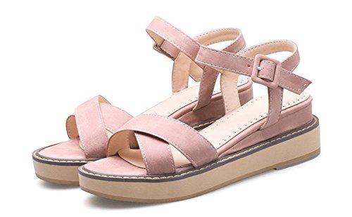 Xiaji Song-Kuchen dicke Kruste bequeme flache Schuhe Größe Frauen Rom Sandalen Pink