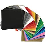 """Premium Permanent Self Adhesive Backed Vinyl Sheets - 55 Pack 12""""x12"""" - by American Deluxe Vinyl Craft - Assorted Colors (Glossy, Matte, Brushed, Metallic) for Cricut, Silhouette Cameo, Other Cutters"""
