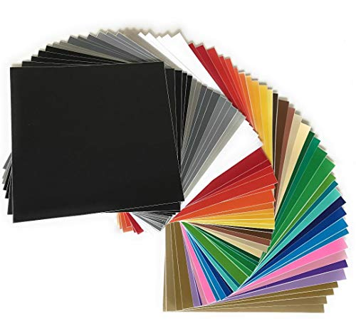 "Premium Permanent Self Adhesive Backed Vinyl Sheets - 55 Pack 12""x12"" - by American Deluxe Vinyl Craft - Assorted Colors (Glossy, Matte, Brushed, Metallic) for Cricut, Silhouette Cameo, other Cutters ()"