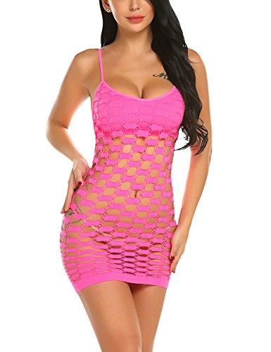 (Avidlove Swim Cover Ups Women's Fishnet Lingerie Mesh Hole Strap Chemise Badydoll Mini Dress Rose Red)