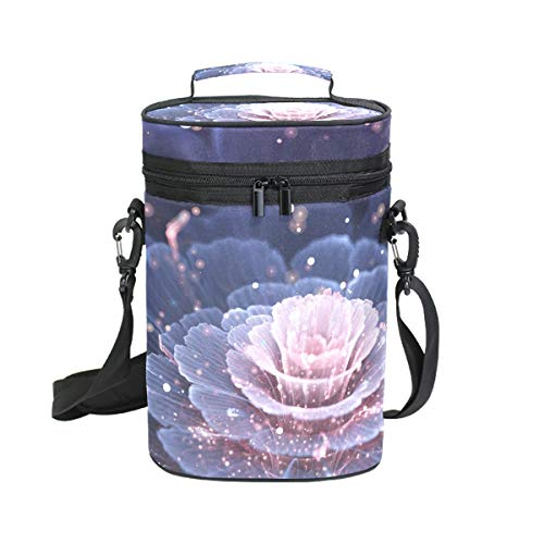 Mr.XZY Blooming Flowers Shining Lights Creative Design Magic Fantasy Gorgeous Insulated Wine Carrier Bag - 2 Bottle Travel Wine Carrying Cooler Tote with Handle and Shoulder Strap 2010241
