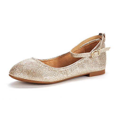 DREAM PAIRS Big Kid Sole-Fina-K Gold Glitter Girl's Ankle Strap Ballerina Flat Shoes - 5 M US Big -