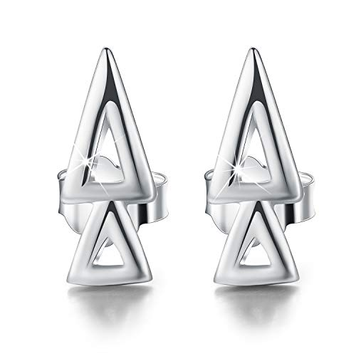 - Esberry 18K Gold Plating 925 Sterling Silver Overlapping Triangles Stud Earrings Geometry Earrings Jewelry for Women and Girls (White Gold-2 Triangles)