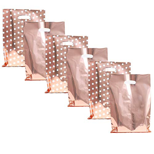 UNIQOOO 60 Metallic Rose Gold & Polka Dot Wedding Favor Bags, Treat Bags Bulk, Gift Candy Cookie Buffet Bag, Great for Bridal Shower, Baby Shower, Birthday Party, Events, Celebrations - 6 1/2