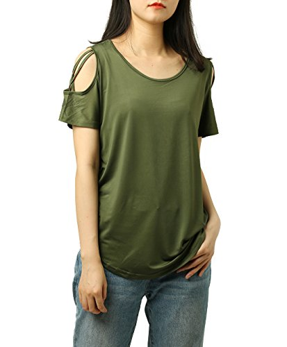 PAAZA Womens Criss Cross Casual Loose Cold Shoulder Tops and Blouses Basic T Shirts (Army Green, S)