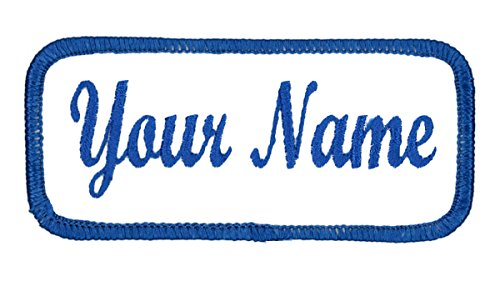 Name patch Uniform or work shirt personalized Identification tape Embroidered Sew On or Hook Fastener, BLUE Script, SEW - Name Of Mens