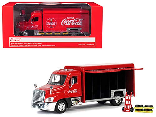(Coca-Cola 1/50 Beverage Delivery Truck with 2 Sliding Doors, Handcart and 2 Bottle)