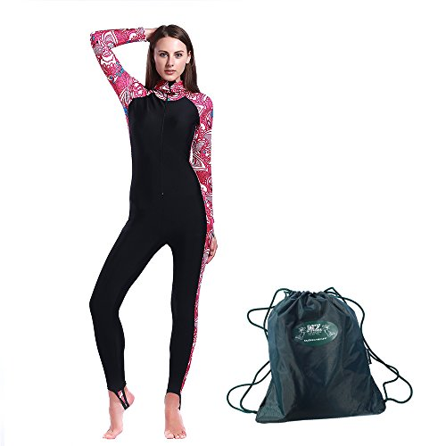 MZ Garment Womens Wetsuit - Lycra Full Body Diving Suit & Sports Skins for Running, Exercising, Snorkeling, Swimming, Spearfishing & Water Sports (floral, XXXL for chest 43