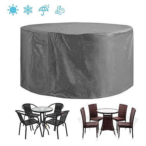 "STARTWO Patio Furniture Cover Heavy Duty Waterproof Anti-Fading Cover for Outdoor Round Table & Chairs Set,Grey 60"" x 28"""