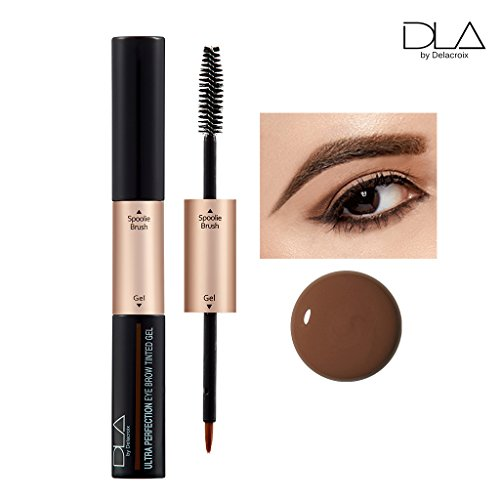 DLA Ultra Perfection Eyebrow Tinted Gel 5g - 2 in 1 Waterproof & Smudgeproof Long Lasting Dual Brushed Eyebrow Gel (01 Black Brown) Eye Perfection Gel