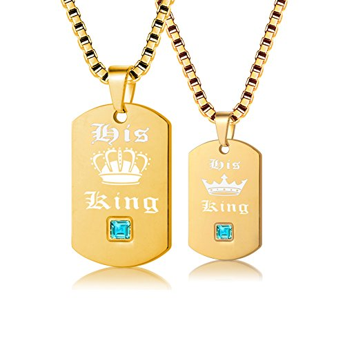 Uloveido 2 pcs Gay Pride Necklaces Set for Men and Women - Dog Tag Gold Titanium Stainless Steel Box Chain Necklaces with Charm Pendants His King -