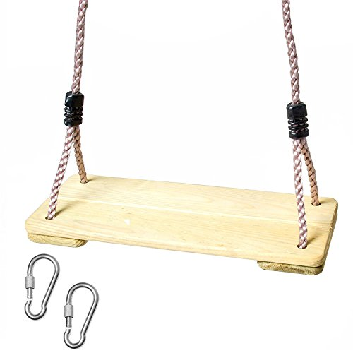 Wooden Swing Seat for Kids - Wood Swing for Backyard Swing Set (Set Seats Swing Replacement)