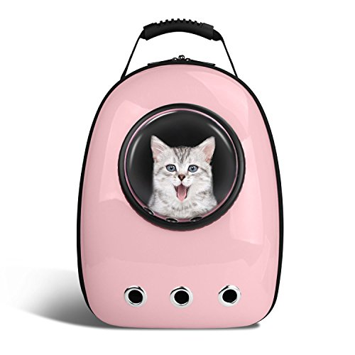 Anzone Pet Portable Carrier Space Capsule Backpack, Pet Bubble Traveler Knapsack Multiple Air Vents Waterproof Lightweight Handbag for Cats Small Dogs & Petite Animals-Pink,30L