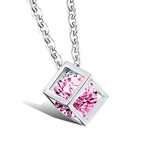 AGOKO Womens Top Grade Contracted Joker Clavicle Magic Cube Pendant Necklace(C2)