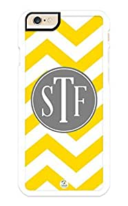iZERCASE iPhone 6 PLUS Case Monogram Personalized Yellow and White Chevron Pattern With Grey Circle RUBBER CASE - Fits iPhone 6 PLUS T-Mobile, AT&T, Sprint, Verizon and International (White)