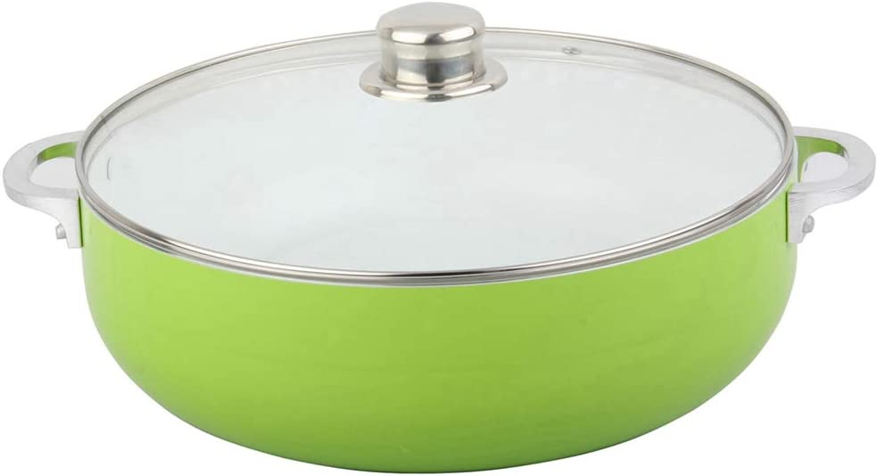 Home Value Nonstick Caldero with Glass Lid, 3mm Thickness (5.5 QT)