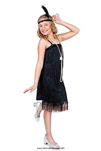 Karnival Costumes Flapper Costume Girls, 20s Dress with Headband, Kids 3-4 Years, Black, Small -