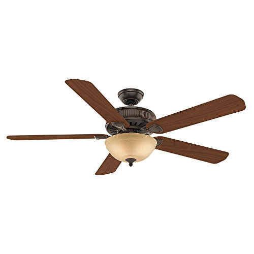 Price comparison product image Casablanca 55006 Ainsworth Gallery 60-Inch 5-Blade Single Light Ceiling Fan,  Onyx Bengal with Distressed Walnut / Dark Walnut Blades and Toffee Glass Bowl Light