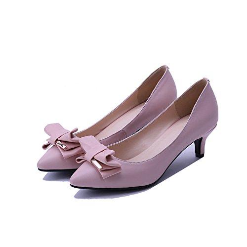 AdeeSu aus No Zehen Komfort Spitzen Pink Womens Müßiggänger Leder massivem Schuhe SDC03554 Closure Formaler 4rx1H4