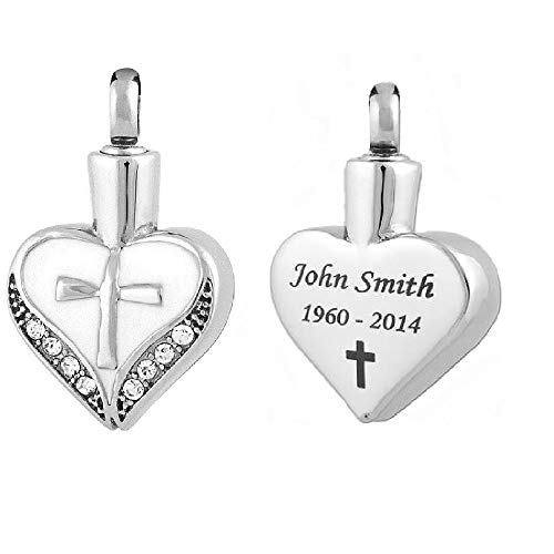 Perfect Memorials Custom Engraved Cross My Heart Stainless Steel Cremation ()
