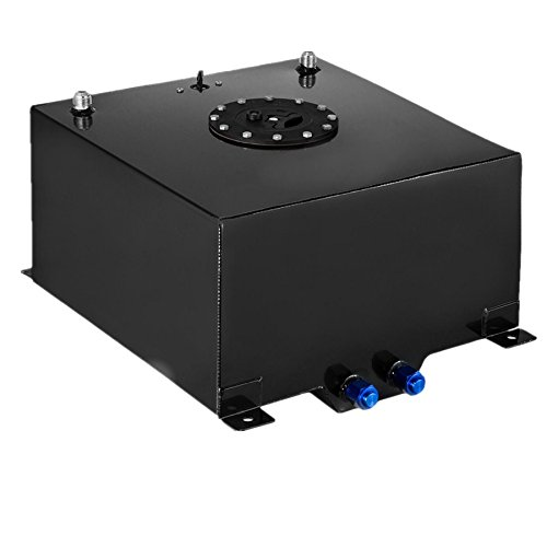 SucceBuy 10 Gallon Fuel Cell Tank Polished With Level Sender And Cap Fuel Cell Gas Tank Black Aluminum Fuel Cell