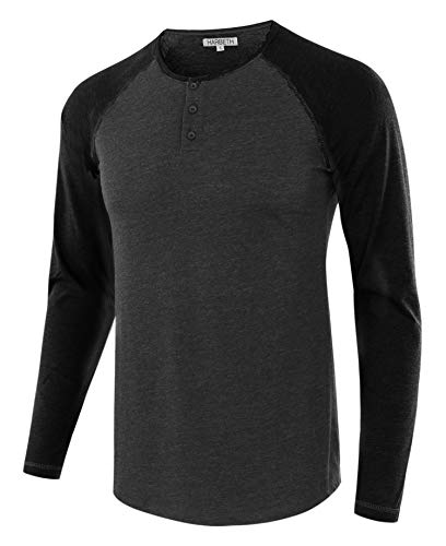 HARBETH Men's Casual Long Sleeve Henley Shirt Raglan Fit Baseball T-Shirts Tee H.Charcoal/Black XXL