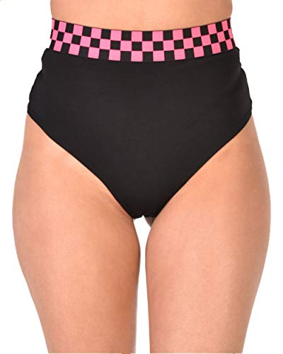 iHeartRaves Neon Pink Double Check Thong Bottom Shorts (Small)