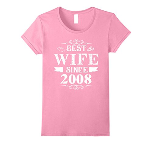Womens Anniversary Gift 10 Years Wedding - Best Wife Since 2008 Small Pink
