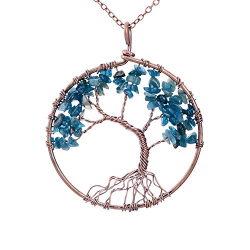 Family Root Wire Wrapped Tree of Life Crystal Pendant Necklace Charm Light Sapphire Pendant September Semi Precious Natural Raw Birthstone Birth Stone Necklace Wisdom Tree -