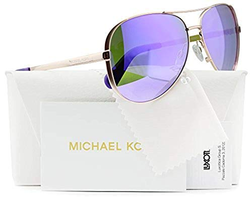 Michael Kors MK5004 Chelsea Aviator Sunglasses Rose Gold w/Purple Mirror (1003/4V) MK 5004 10034V 59mm Authentic ()