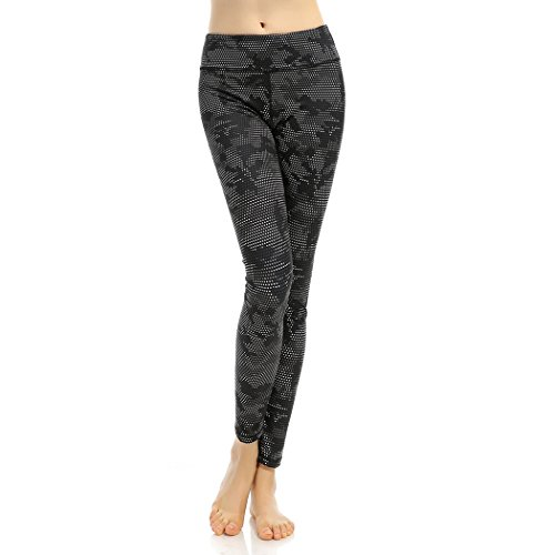Threelove Women's Seamless Compression Yoga Pants Slim Fitness Workout Leggings With Inner Pocket Black-2 S