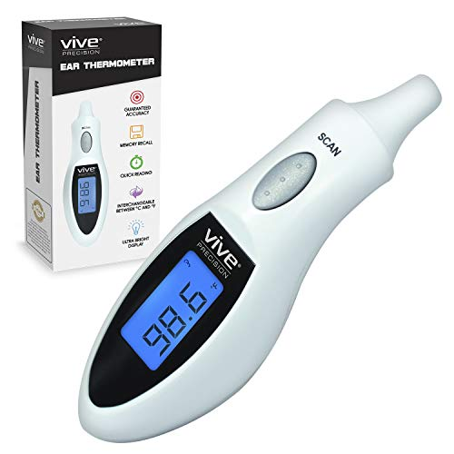 (Vive Precision Tympanic Thermometer - Digital in Ear Temperature, Fever Checker for Baby, Kids, Adults - Accurate Mini Medical Quick Reading Device for Infant Babies, Elderly Senior, Pet, Dog, Cat)
