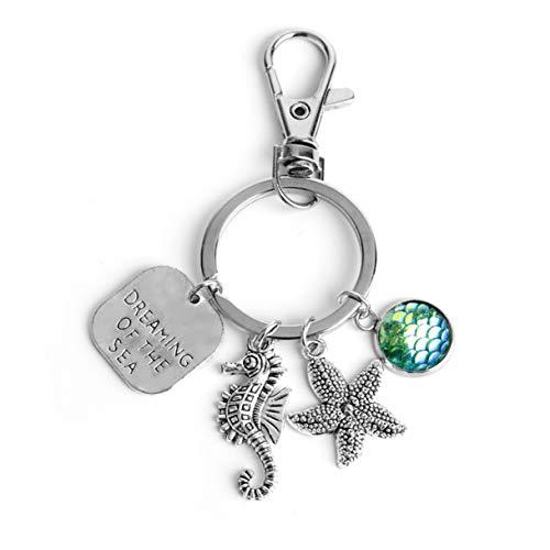 1 Set Silver Dreaming Sea Starfish Seahorse Mermaid Keyrings Lovers Pendants Girls Fur Rabbit Utility Tool Key Tags Howling Popular Pocket Bag Car Keychain